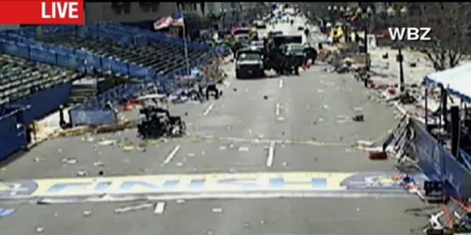 Web camera screen shot of Boston Maratone Fishis Line at 3:35 PM.